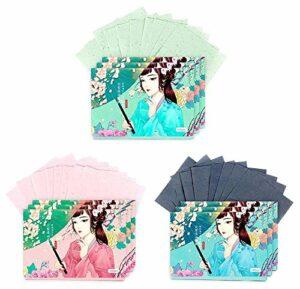 Papiers de buvard de maquillage de double face visage papier absorbant l'huile ensemble, 300 feuilles (C)
