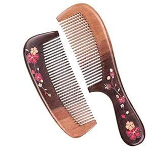 Peigne à cheveux en bois à dents fines, unisexe, antistatique, exfoliant naturel pour cheveux, barbe, épilation