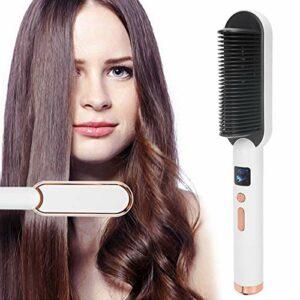 Peigne à défriser les cheveux, brosse à défriser les cheveux à réglage constant intelligent de la température pour la maison pour le salon de beauté(pink)
