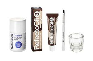 Refectoci Kit de coloration pour cheveux – Couleur naturelle marron crème + oxydant liquide 3% + pinceau mélangeur + bol mélangeur en verre