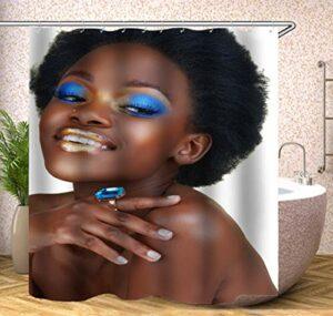 Rideau de douche en tissu polyester avec 12 crochets Motif beauté africaine avec ombre à paupières bleue 152,4 x 182,9 cm