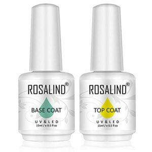 ROSALIND 2PCS Top Coat et base coat Ensemble de base top coat vernis à ongles gel semi permanent multi-usages Gel laque, 15ml