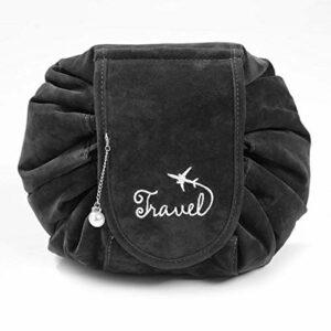 Sac cosmétique portable Sac de voyage léger pour un usage domestique pour outil de maquillage pour accessoires de cheveux pour femmes(black)