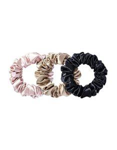 Slip Lot de 3 grands chouchous en soie 100 % pure soie de mûrier 22 momme pour femme – Sans danger pour les cheveux + luxueux chouchous élastiques
