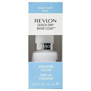 Soin des ongles Revlon Quick Dry Base Coat (Base à séchage rapide), fixe la couleur durablement sans s'écailler, 15 ml