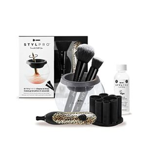 StylPro Cheetah Gift Set Kit: Nettoyeur et séchoir pour pinceaux de maquillage électrique avec 8 colliers de brosse, nettoyant pour pinceaux