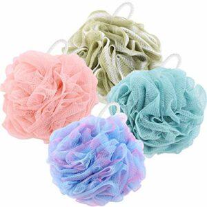 Tecbeauty Lot de 4 éponges de bain de douche 60 g avec boules de luffa pour gommer le corps des hommes et des femmes Bleu