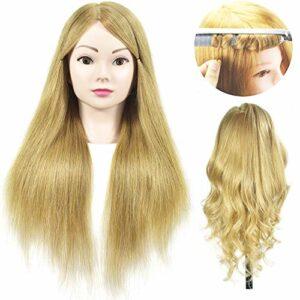 Tête de mannequin avec cheveux 100 % véritables – Longueur de cheveux 50 cm – Pour la formation des coiffeurs – Cosmétologie – Avec pince de serrage pour l'attacher sur une table