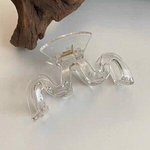 zhongbao Grande pince à cheveux en forme de crabe – Couleur unie – Pour le bain, la queue de cheval – Accessoire pour cheveux – Couleur : transparent